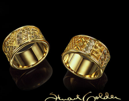 golder signature and Woven rings photo